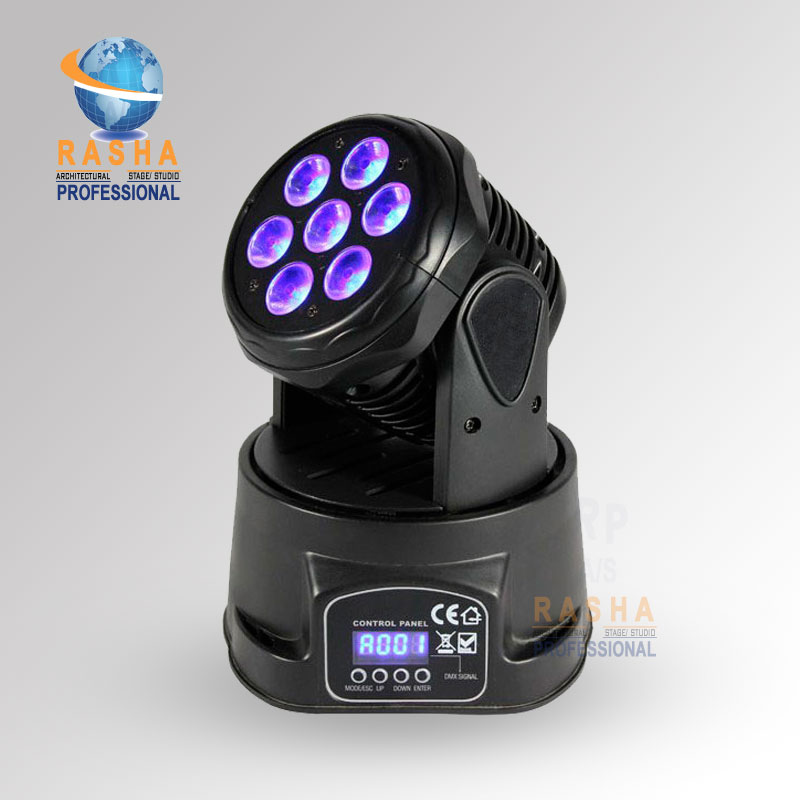 Hot Sale 7pcs*12W 4in1 RGBW Mini LED Moving Head Wash Light With LCD Display,DJ Event Light