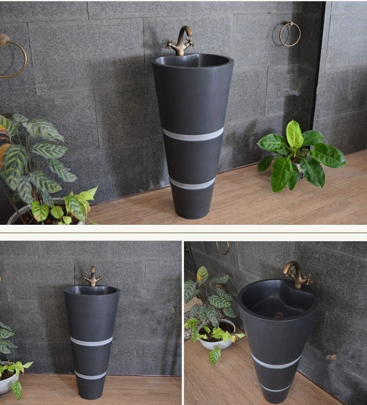 Black Granite Pedestal Sink,Stone Freestanding Wash Basin