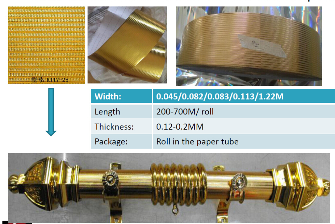 golden papers for coating on the curtain poles purchasing