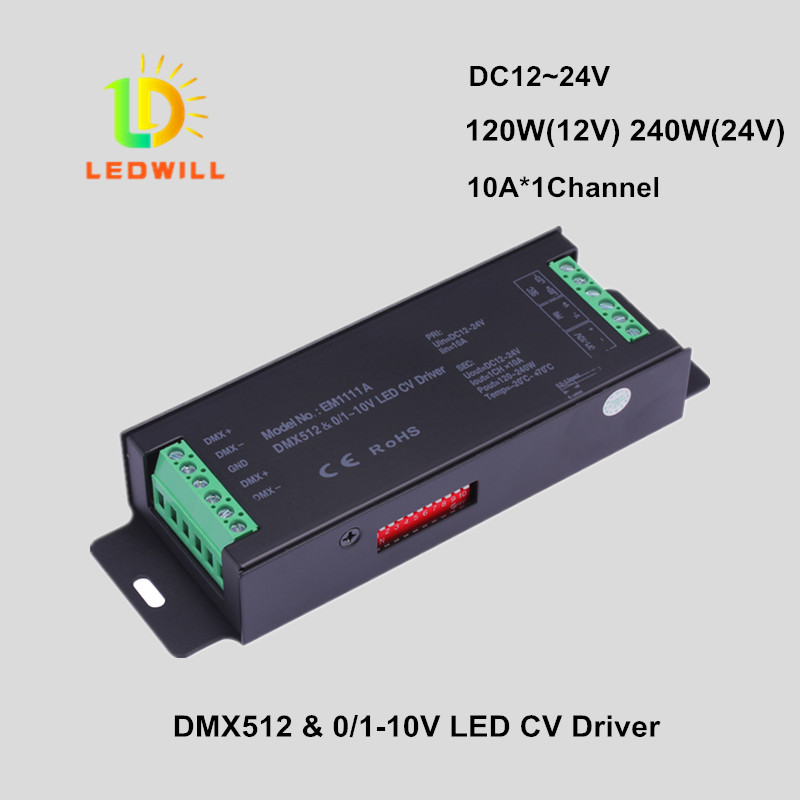 1CH DMX512 & 1-10V CV Driver with 3-Pin connector led lamps with lights spotlights DMX512 CV Decoder