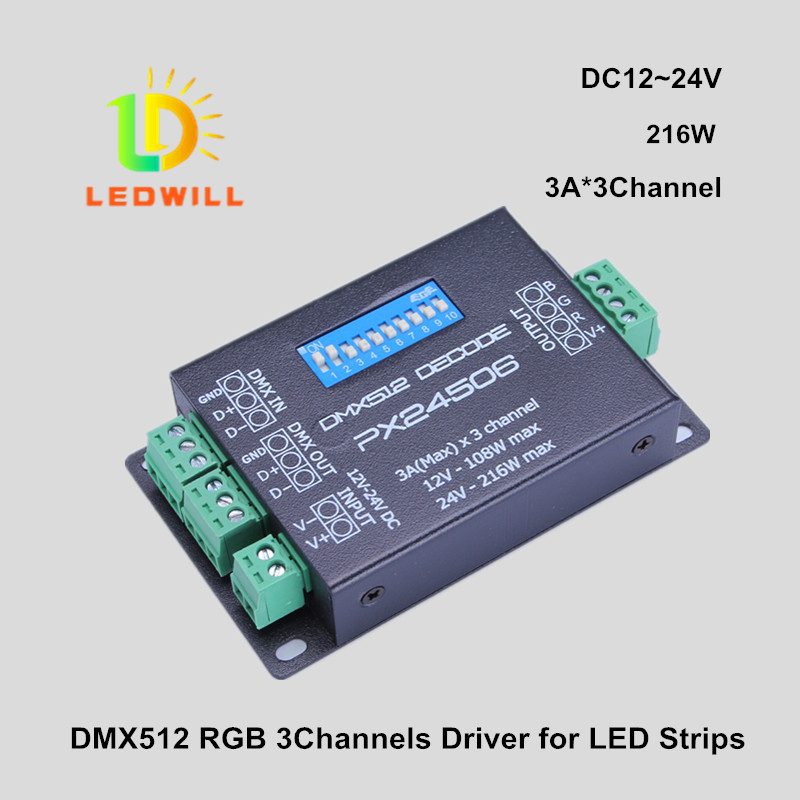 3 channels Dmx512 decoder for led strip lighting lamp for mini led decoder led connector drive