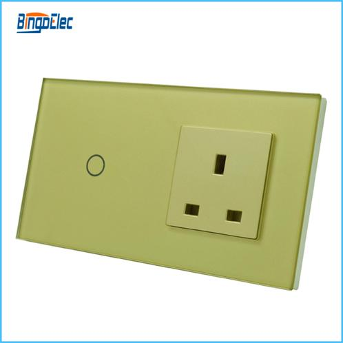 uk standard glass panel 1gang 1way touch switch and uk 13A socket