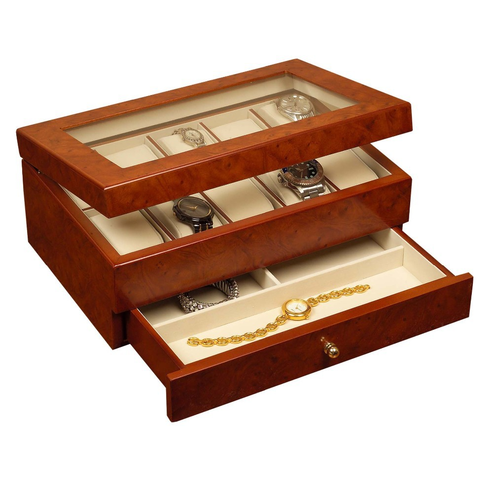 Superior Luxury New Leather Wood Watch Box China Replica Watch Factory