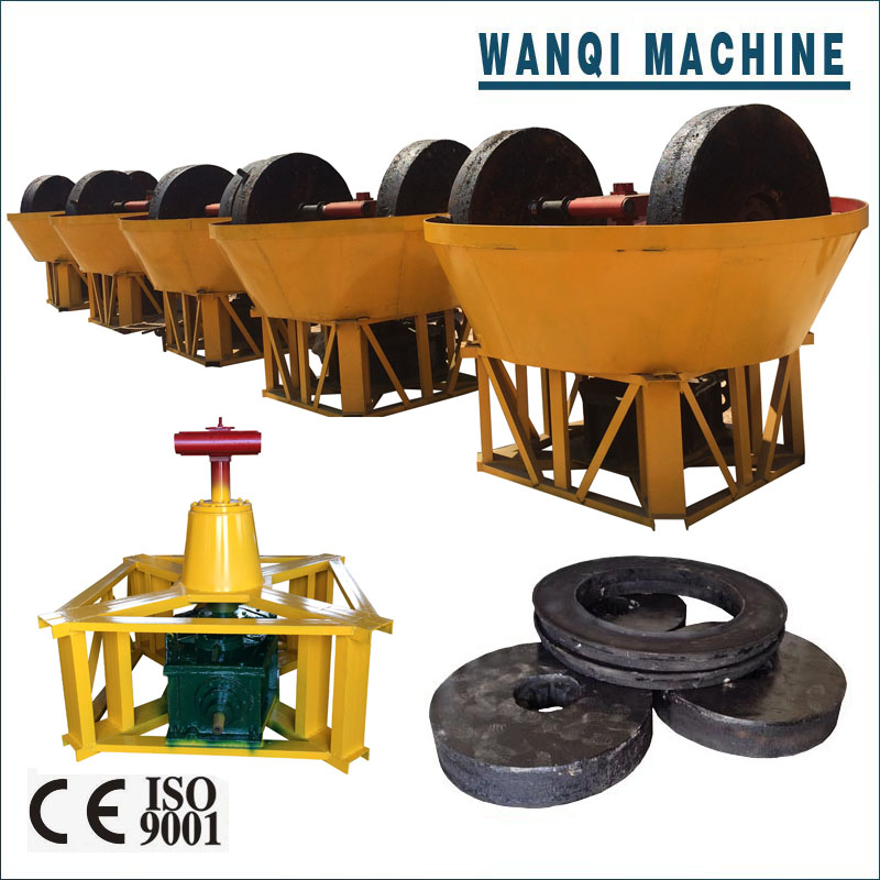High quality gold grinding machine, stone wet pan mill for gold with CIQ export to Sudan