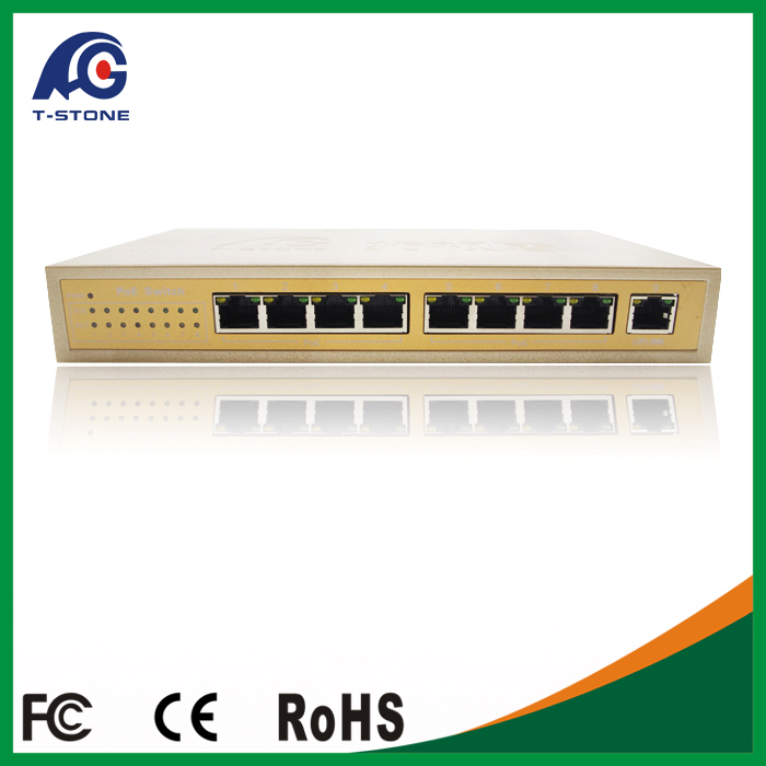 4+4 port fast ethernet poe switch for hd 1080P poe camera