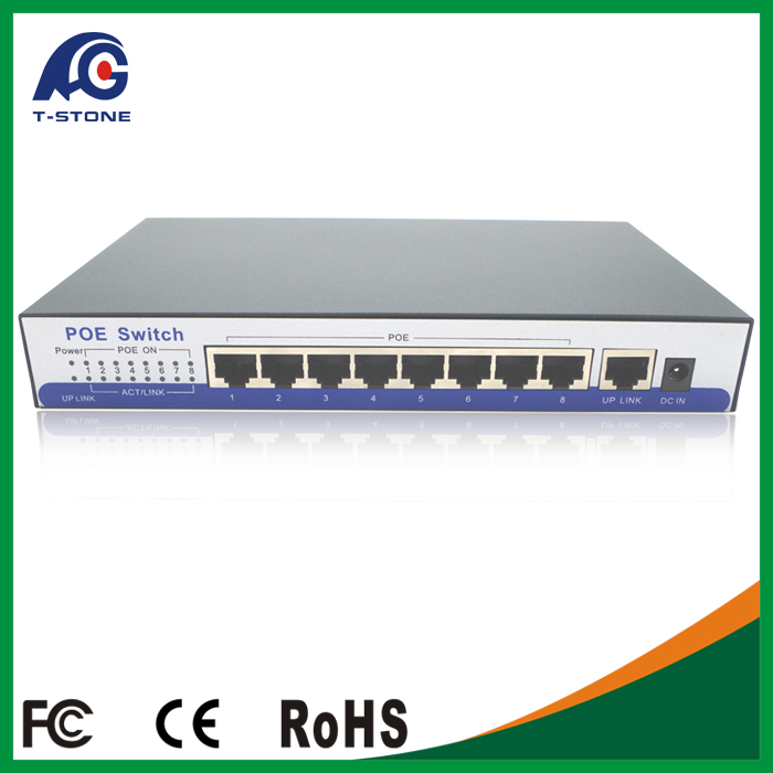 Industrial 15.4W per port PoE Switch IEEE802.3AF 48V for cctv products (TSD-PSE108F)