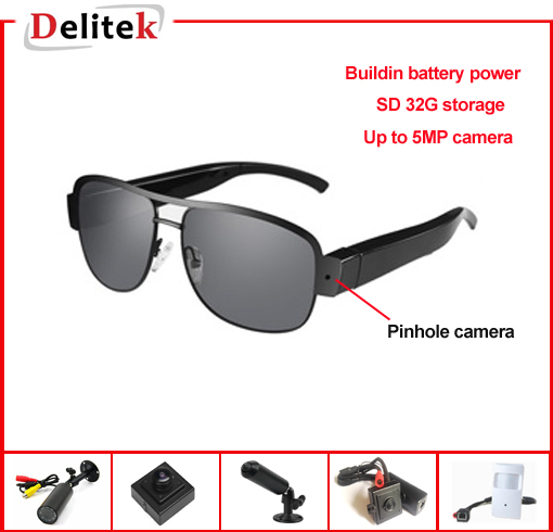 Stylish 720P Glasses DVR Camera with Pinhole Camera and SD Storage Buildin