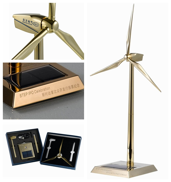 Zinc Alloy & ABS Plastic Blades Golden Metal Windmill for Solar Gifts