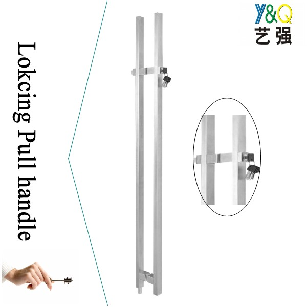 glass door handle with lock