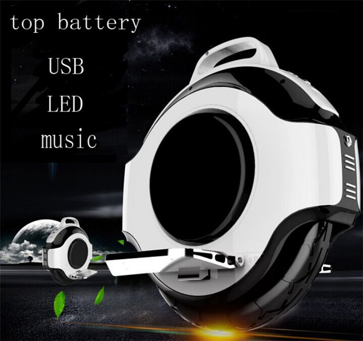 30KM Monocycle Electric Scooter with USB Bluetooth Music LED Light One Wheel Scooter