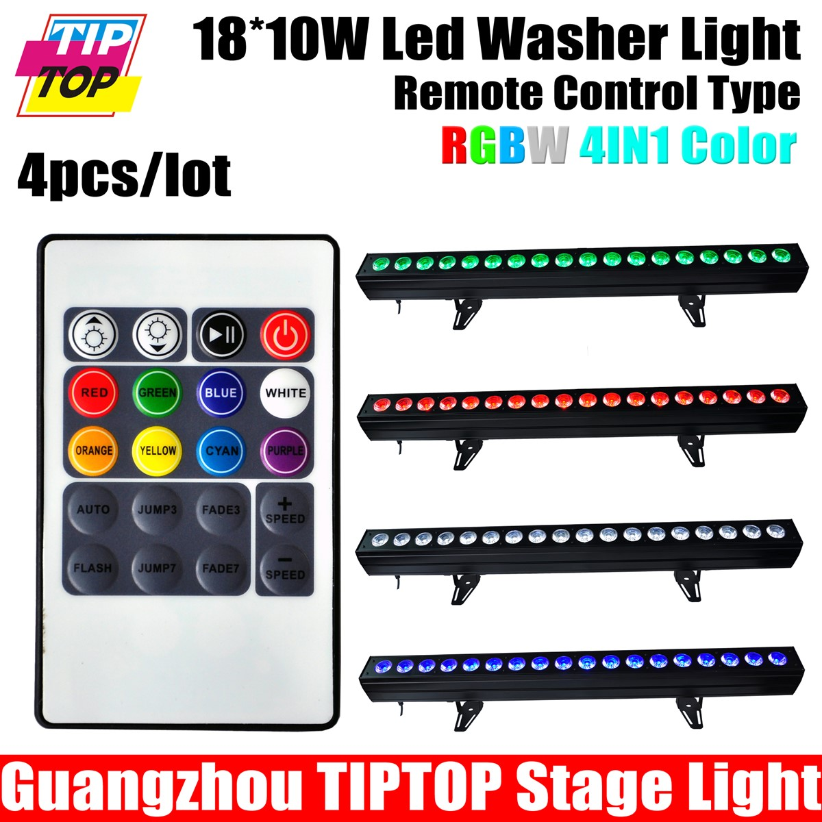 200W RGBW Led Wall Washer Indoor Flood Light 4IN1 18x10W White RED Blue Green Warranty CE Rohs
