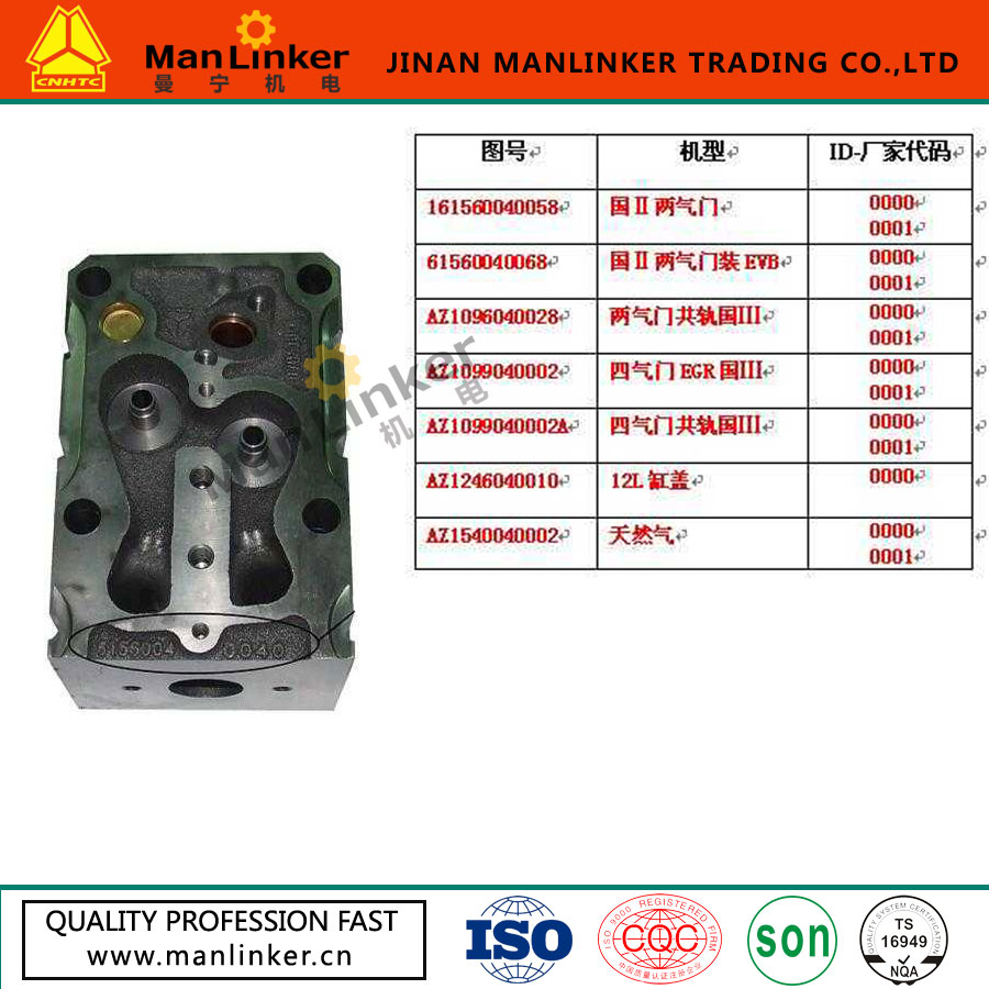 61560040068 HOWO TRUCK SPARE PARTS CYLINDER HEAD