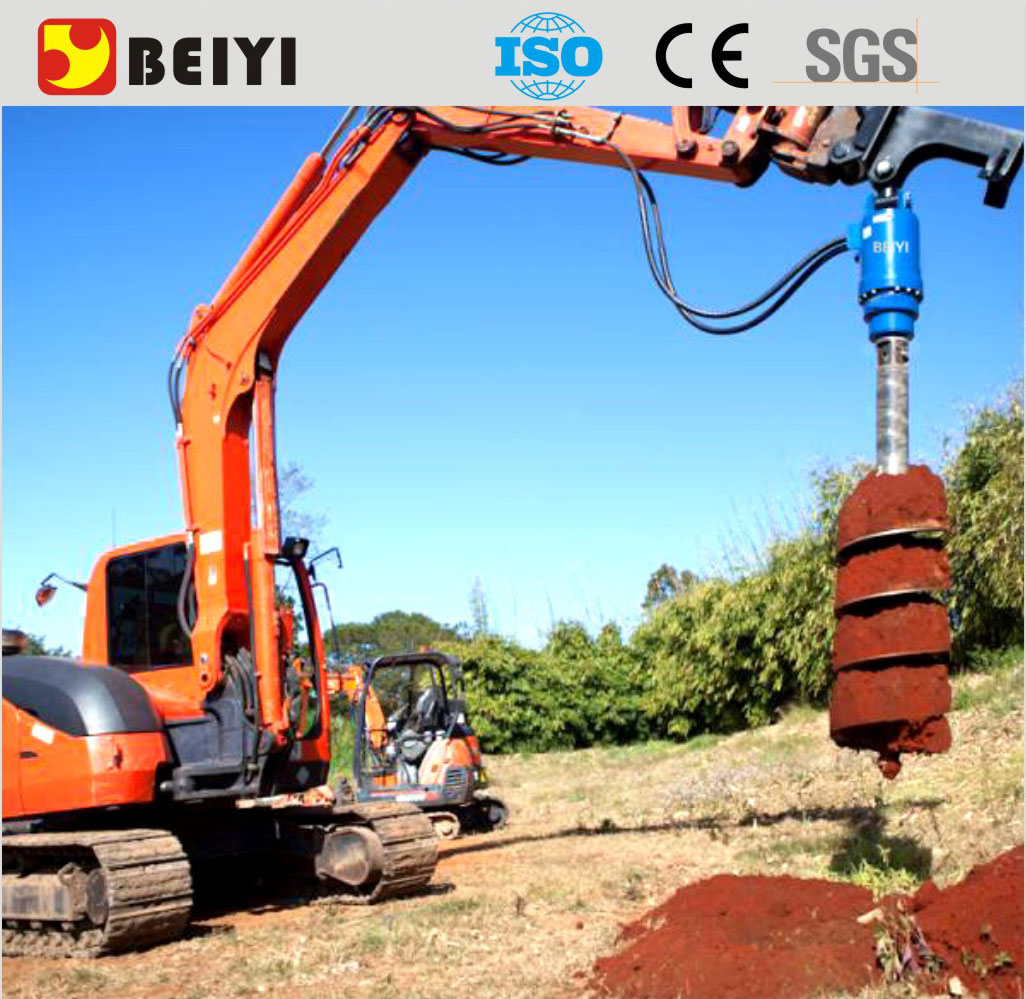 BEIYI excavator/tractor/crane mounted earth drill auger ground hole digger drilling machine