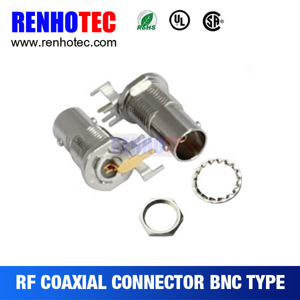 R/A BNC Jack PCB Mount Brass Pin Connectors RF Magnetic Electronic Connectors