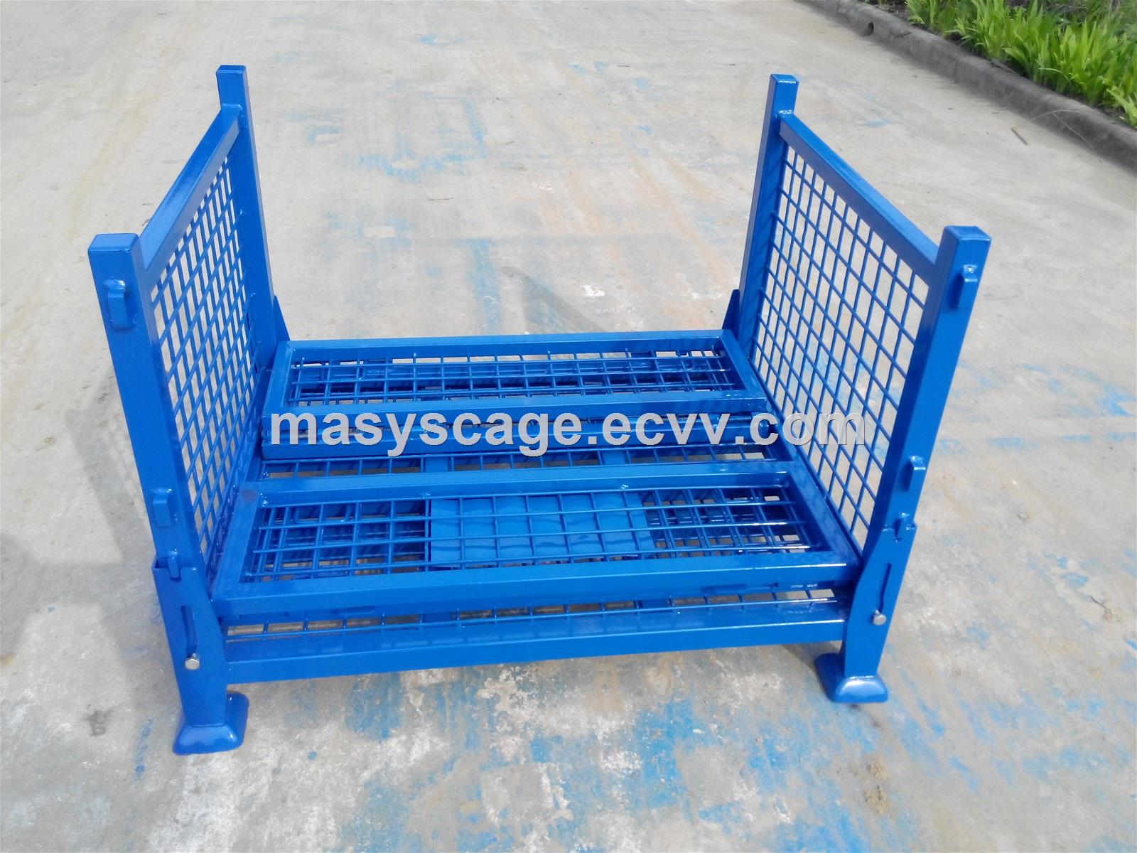 HeavyDutyPowderCoatedFoldingWireMeshPalletContainerforSale