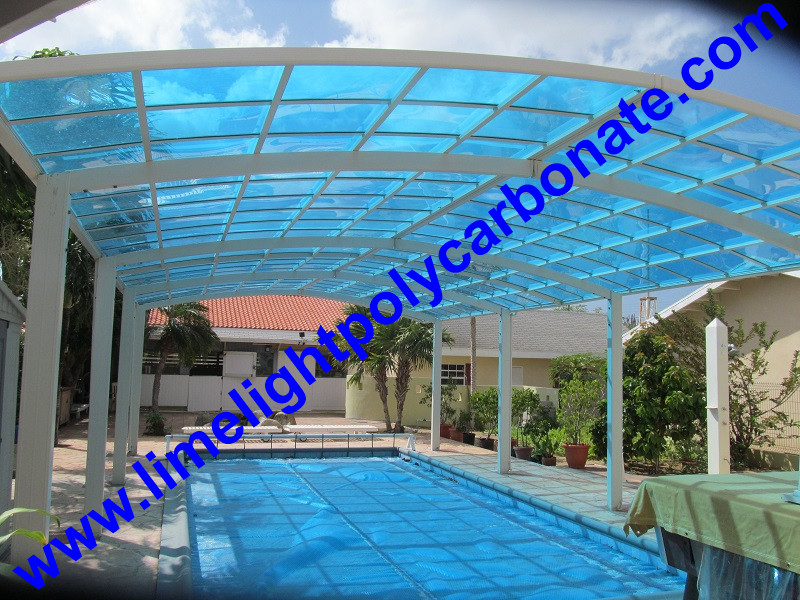 aluminium frame carport with blue color polycarbonate roofing sheet for swimming pool cover
