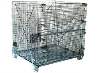 Galvanized collapsible storage metal mesh cage