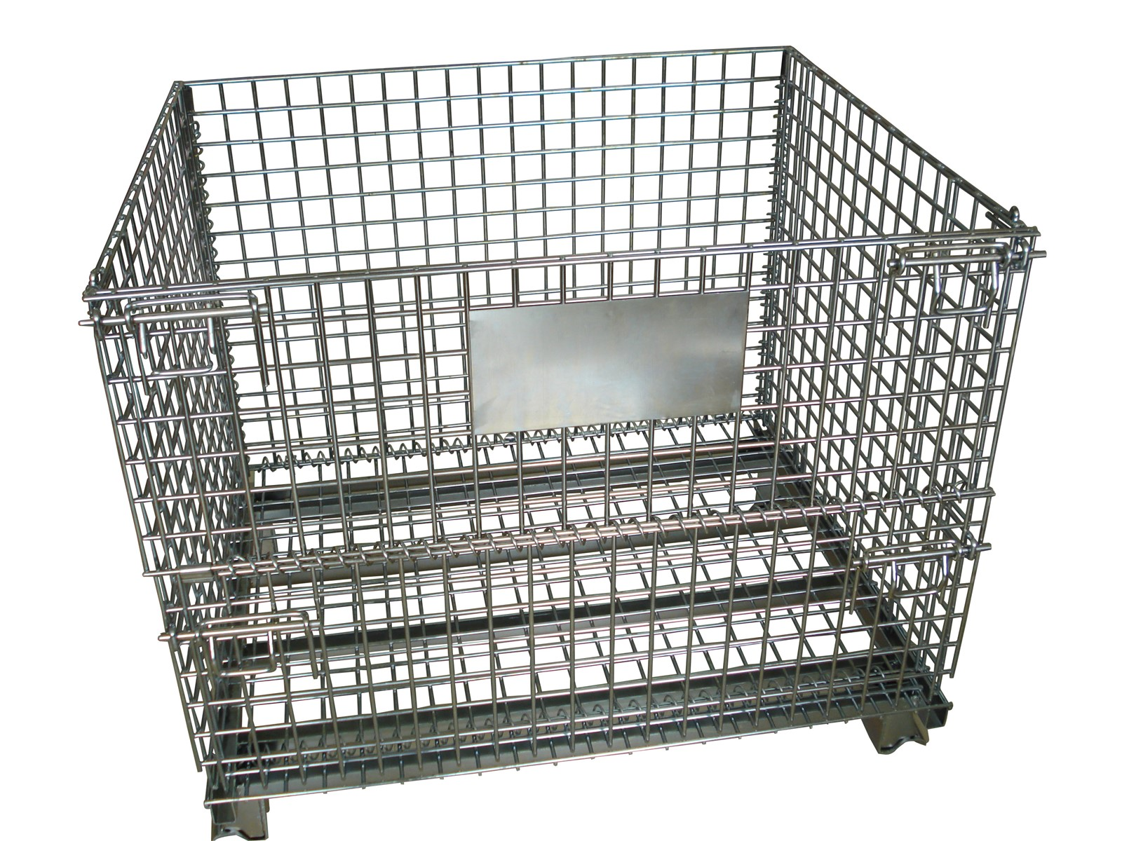 Rolling Wire Pallet Cage Foldable and Stackable Metal Wire Basket ...