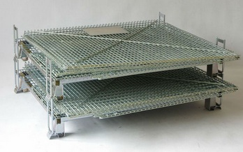 Supermarket stacking foldable secure storage metal cage with wheels