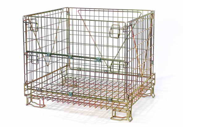 Warehouse folding stackable storage wire mesh containers for PET Preform