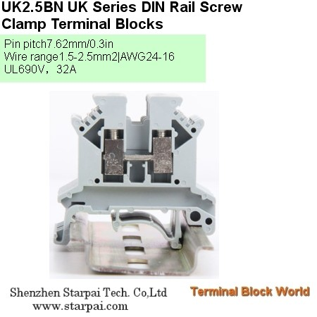 DIN Rail Terminal Block (Screw Type & Spring Clamp Cage Type)UK1.5, UK2.5, UK3, UK5, UK6, UK10, UK16, UK25, UK50, UK100, UK150