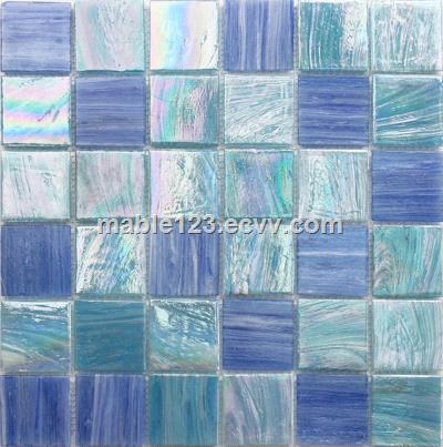 48*48mm iridescent melting glass mosaic tile for swimming pool