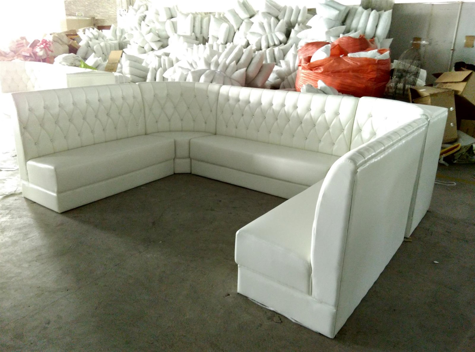 u shape customized restaurant booth seating in white vinyl leather