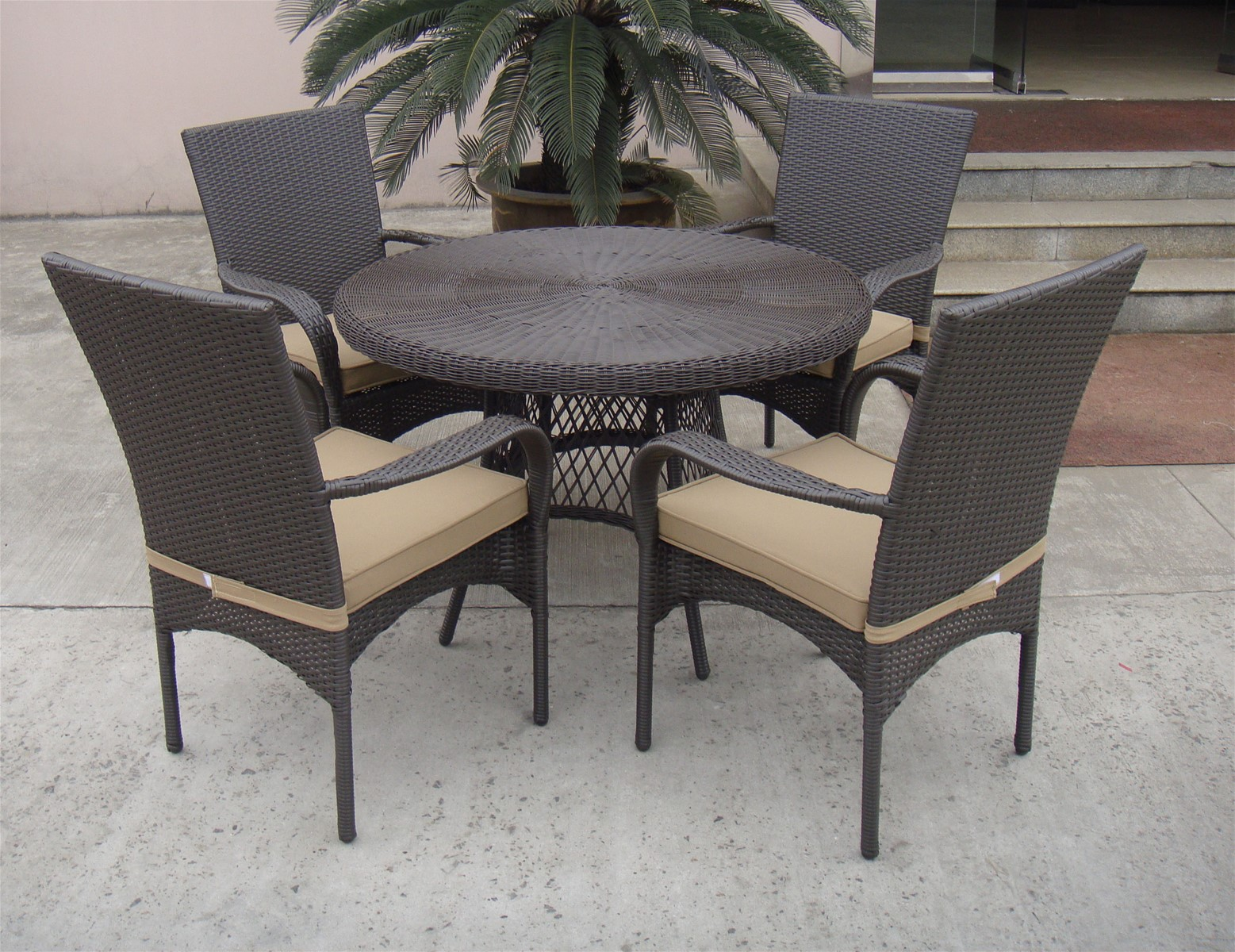 Charmant All Season Outdoor Furniture Rectangle Rattan Table And Chairs Dining Set