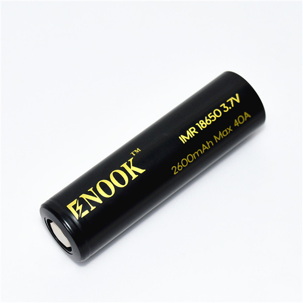 Enook 18650 2600mAh 40A 3.7V high drain rechargeable Li-Mn with flat top for electronic cigarettes