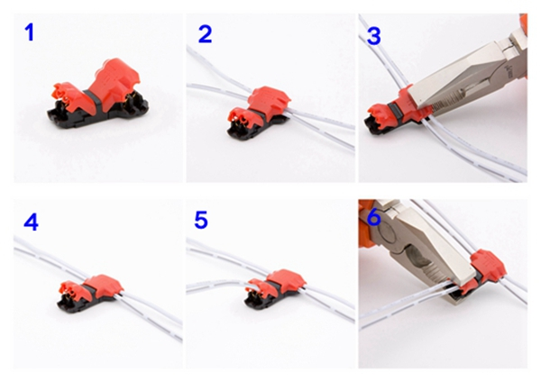 No peeling fast LED connector for 4wires