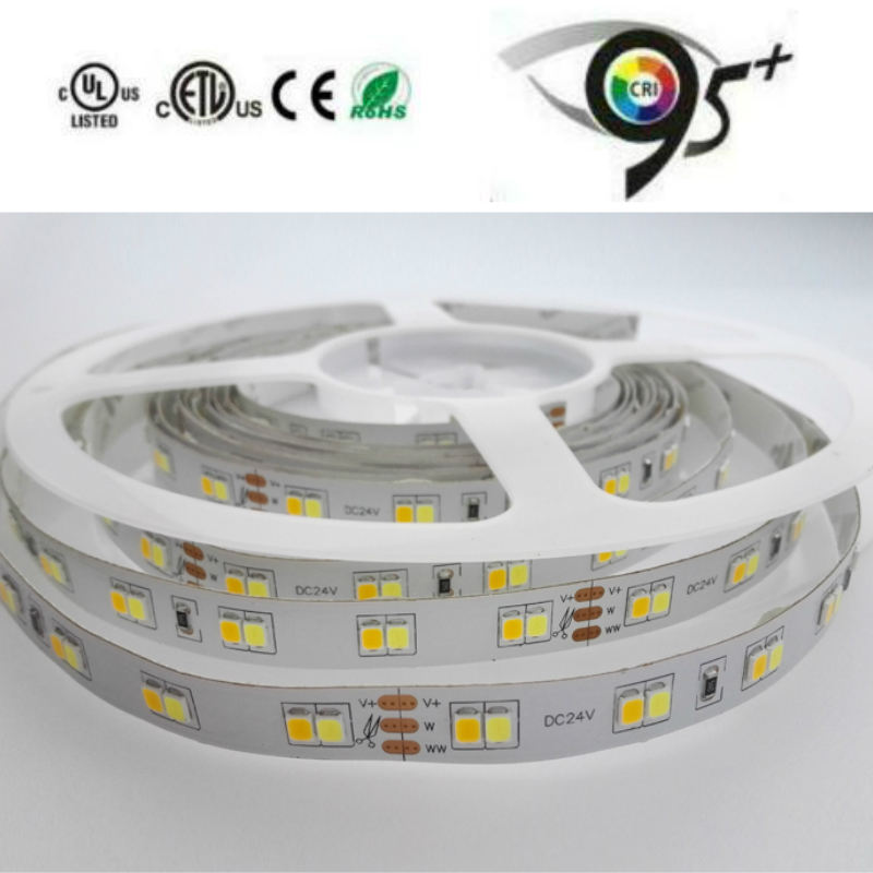 High CRI80  High Lumens W+WW  DC24V 5630 Dual White LED Strip