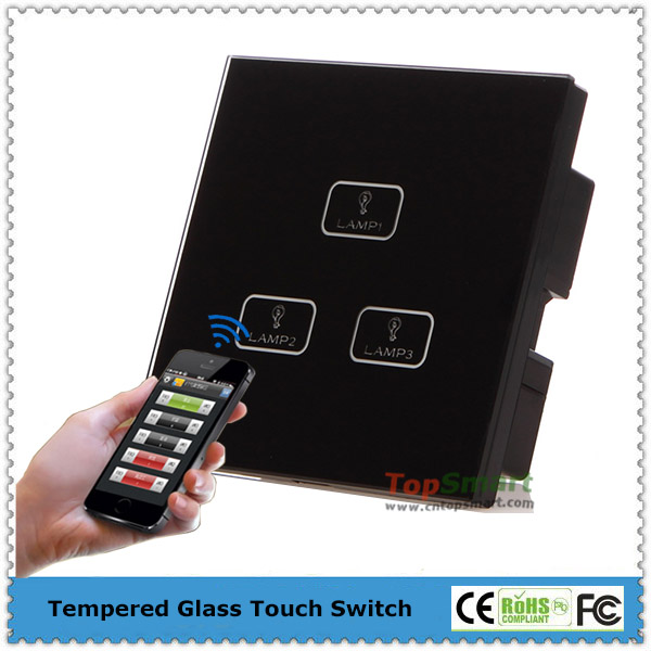 UK Standard 3 Gang Wifi Remote Control Light Touch Wall Switches