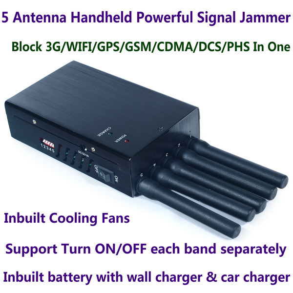 5 Antenna Handheld High Power Cell Phone 3G WIFI GPS GSM CDMA DCS PHS Signal Jammer Within 20M Range