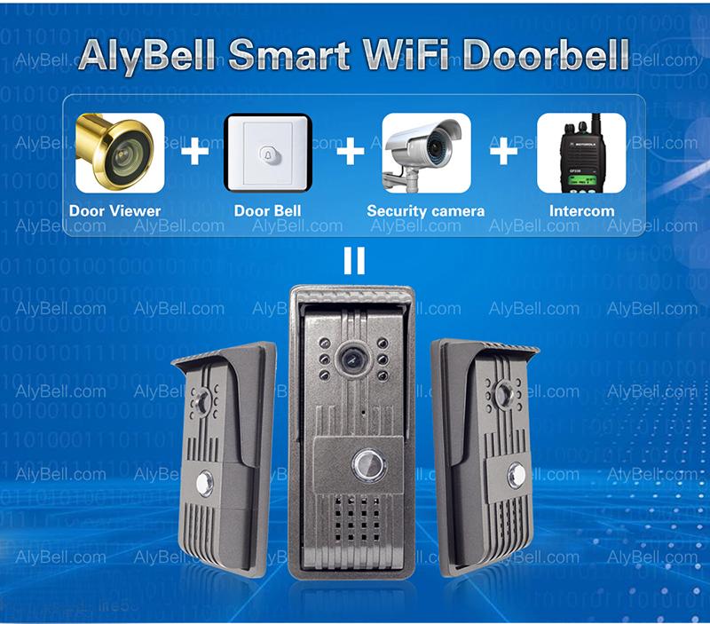 WiFi Wireless Vandalproof Waterproof IP55 P2P Video Intercom Door Bell for  Android/iOS Smartphone