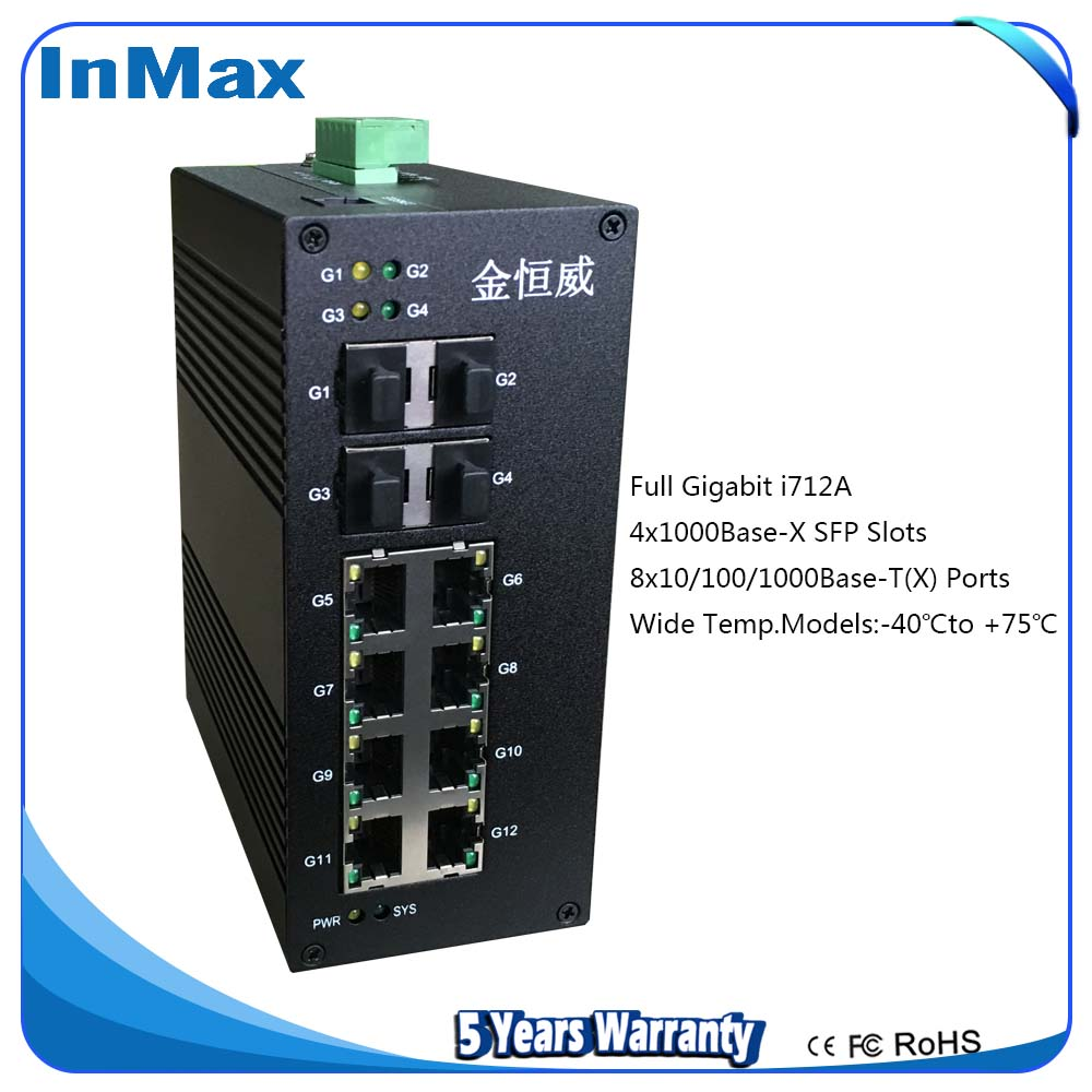 i712A 12 Port 10/100/1000Base Gigabit Industrial Ethernet Switch