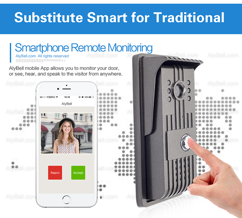 WiFi Night Vision Rainproof Wireless Video Talking Doorbell Suitable on iOS & Android Phones