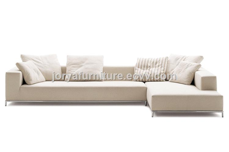 Mordern living room leather sofa with solid wood frame and high density foam