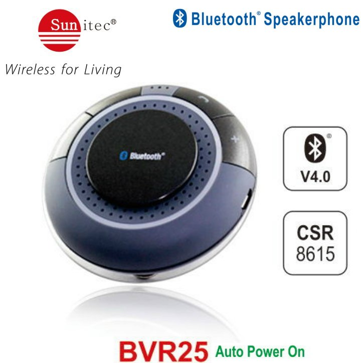 Solar powered Bluetooth Speakerphone Handsfree Carkit for Every Car Stereo