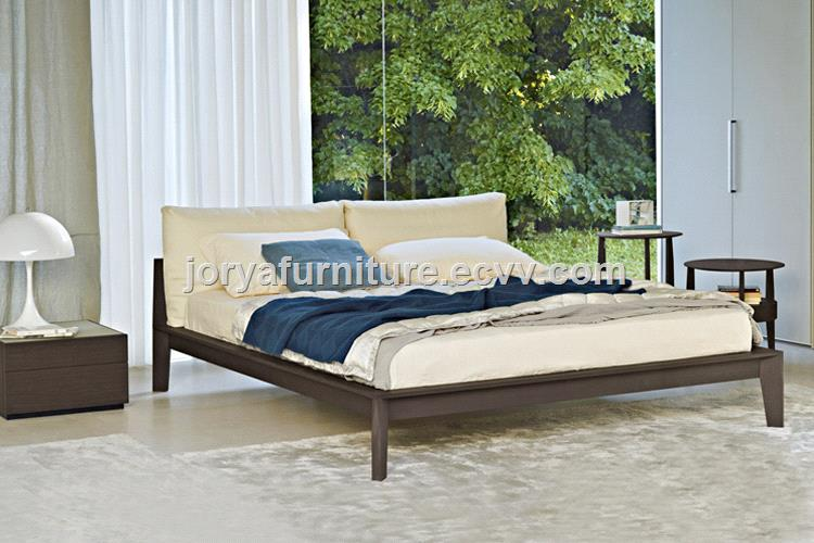 Modern Bedroom Furniture Ash Solid Wood Bed Real Leather Soft High Quality Fabric