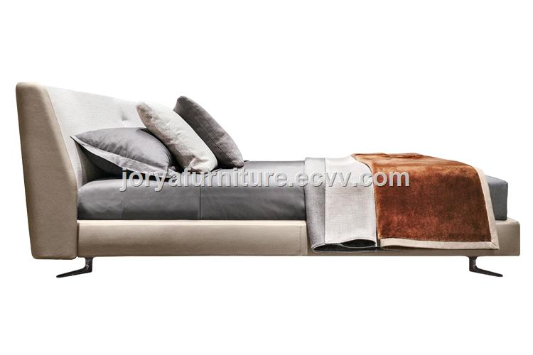 Modern Style Double Fabric Soft Bed Real Leather Soft Bed Queen Bed