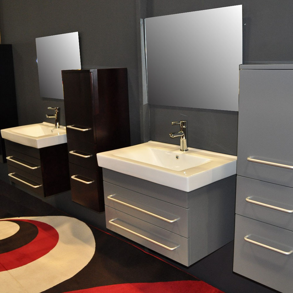 . Modern bathroom cabinets slim black wall hung modern cheap single bathroom  vanity