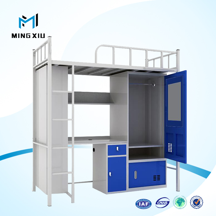 Luoyang Low Price Bunk Bed With Desk Metal Student Dormitory Bunk
