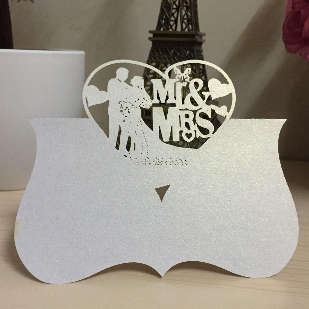 Laser Cut Lace Crown Paper Place Name Seat Card Wedding Birthday Party Invitation Table Decoration