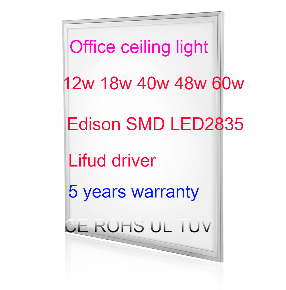 Ceiling panel office light 5 years warranty CE ROHS TUV UL ceitificated with cheap price