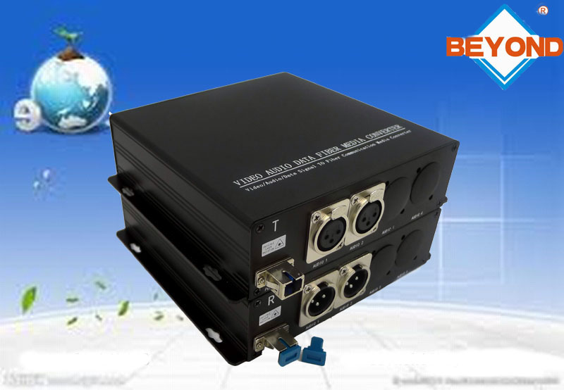 2ch balanced audio to fiber optic transceiver with XLR for broadcast
