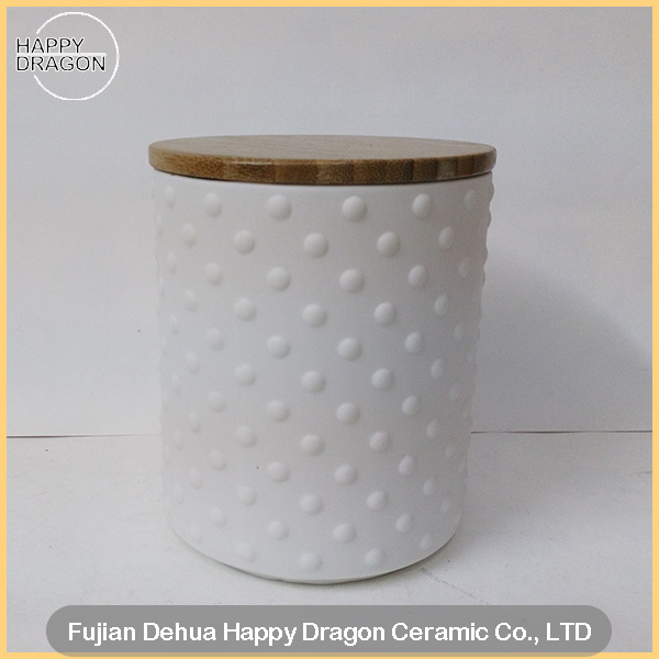 Raw Finishing Ceramic Candle container with round bumps