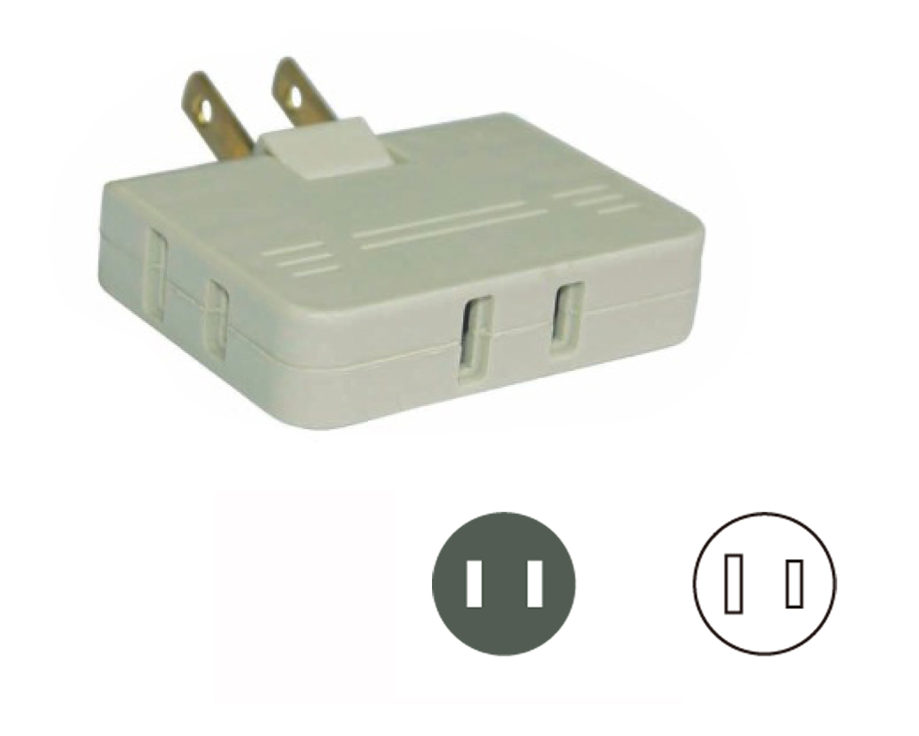 UL/CUL 3 Outlet Wall Tap, Adapter