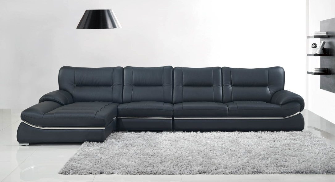 Clic Price Black Leather Sofa Set Foshan Factory