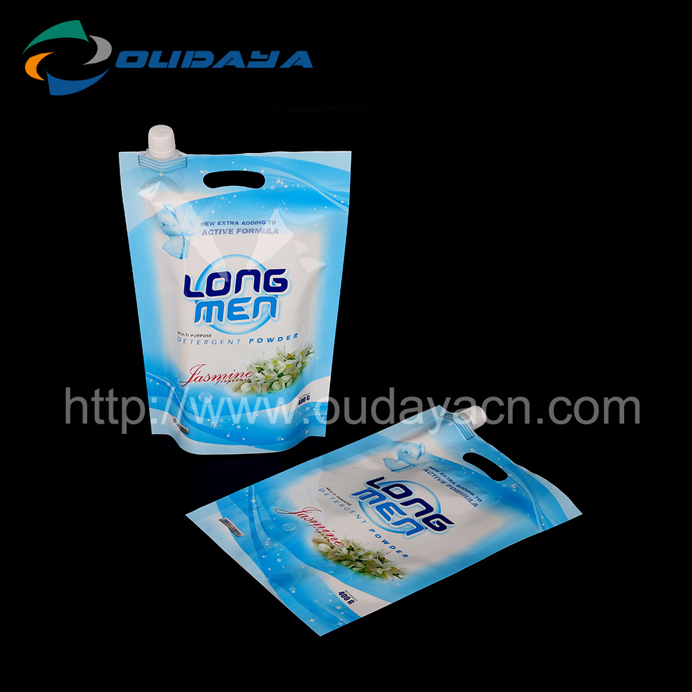 Powder storage bag with pour spout