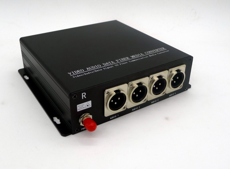 4ch Balanced Broadcast Audio to Fiber Converter over XLR Connector 500m/80km